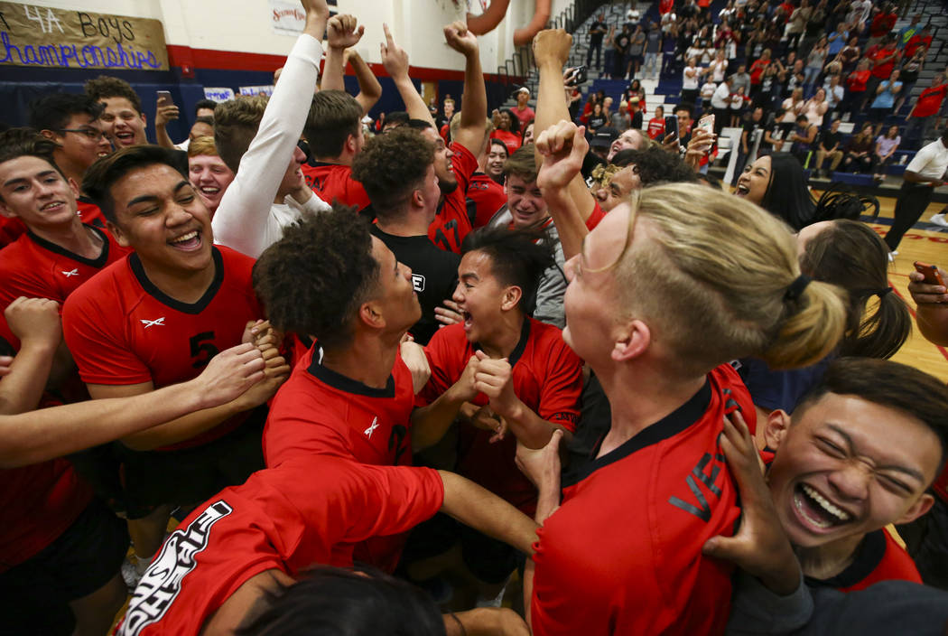 Las Vegas' players celebrate after defeating Centennial in the Class 4A boys state semifinal volleyball game at Coronado High School in Henderson on Tuesday, May 16, 2017. Chase Stevens Las Vegas  ...