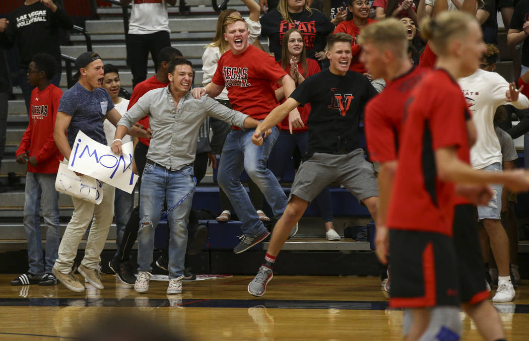 Las Vegas fans react as their team plays Centennial during the Class 4A boys state semifinal volleyball game at Coronado High School in Henderson on Tuesday, May 16, 2017. Chase Stevens Las Vegas  ...