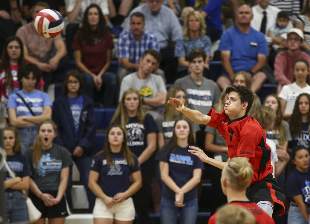 Las Vegas' Elliott Silveira (7) sends the ball to Centennial during the Class 4A boys state semifinal volleyball game at Coronado High School in Henderson on Tuesday, May 16, 2017. Chase Stevens L ...