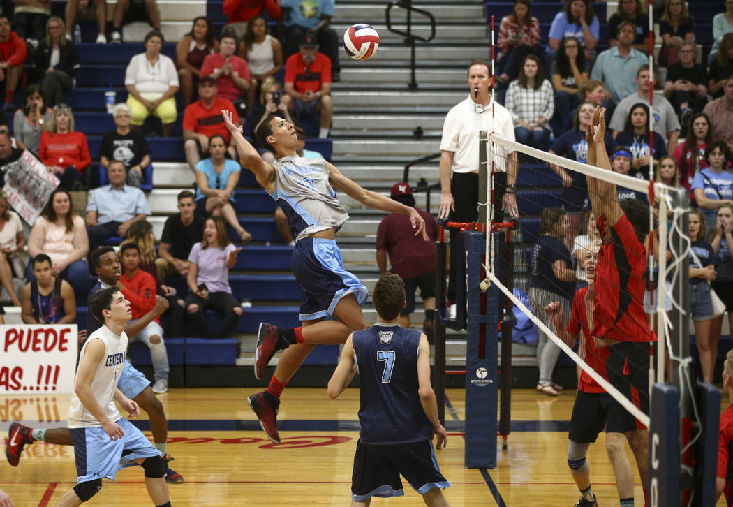 Centennial's Teon Taylor (13) looks to send the ball over to Las Vegas during the Class 4A boys state semifinal volleyball game at Coronado High School in Henderson on Tuesday, May 16, 2017. Chase ...