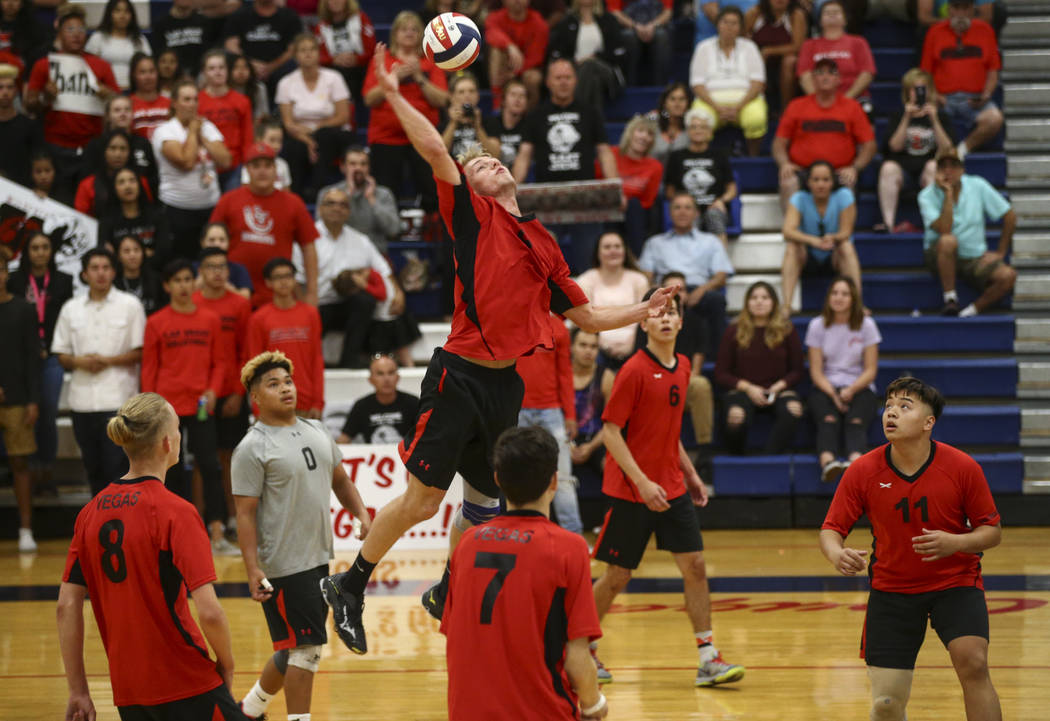 Las Vegas' Brandon Kampshoff sends the ball to Centennial during the Class 4A boys state semifinal volleyball game at Coronado High School in Henderson on Tuesday, May 16, 2017. Chase Stevens Las  ...