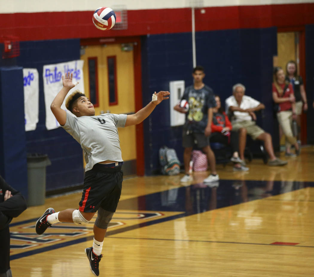 Las Vegas' Kyle Monton (0) serves the ball to Centennial during the Class 4A boys state semifinal volleyball game at Coronado High School in Henderson on Tuesday, May 16, 2017. Chase Stevens Las V ...