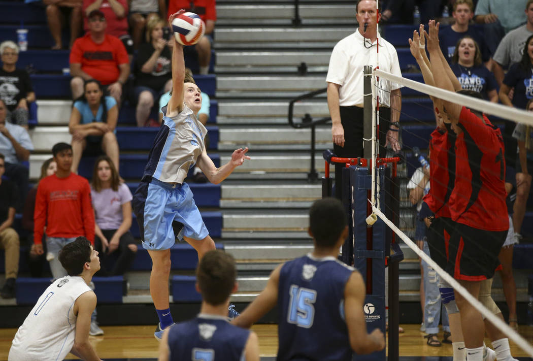 Centennial's Justin Madsen (6) sends the ball to Las Vegas during the Class 4A boys state semifinal volleyball game at Coronado High School in Henderson on Tuesday, May 16, 2017. Chase Stevens Las ...