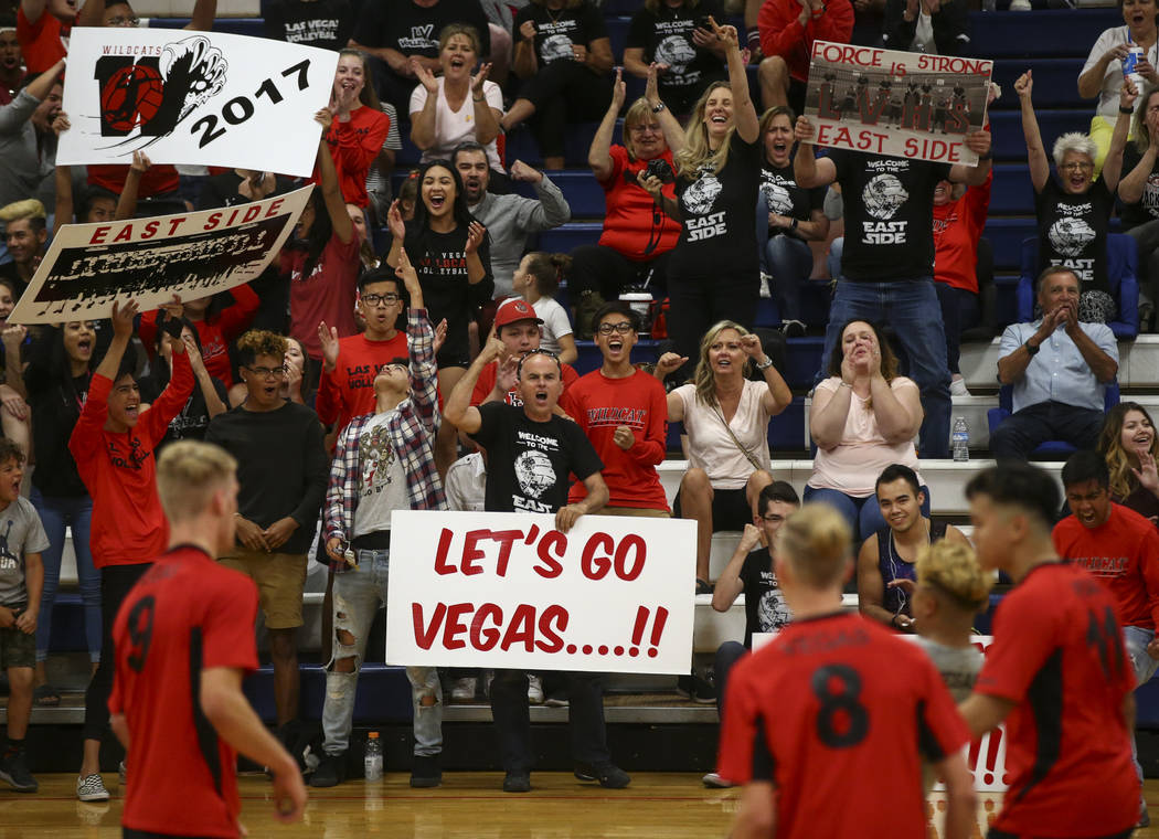 Las Vegas fans cheer as their team plays Centennial during the Class 4A boys state semifinal volleyball game at Coronado High School in Henderson on Tuesday, May 16, 2017. Chase Stevens Las Vegas  ...