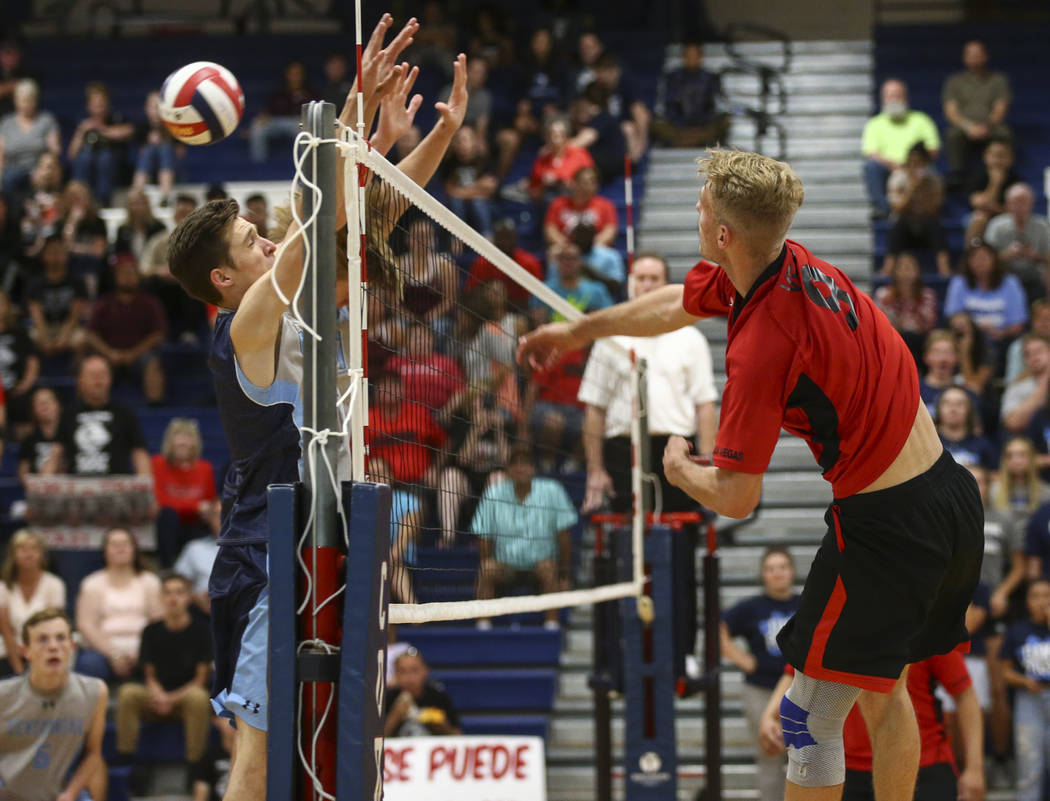 Las Vegas' Brandon Kampshoff (9) sends the ball to Centennial during the Class 4A boys state semifinal volleyball game at Coronado High School in Henderson on Tuesday, May 16, 2017. Chase Stevens  ...