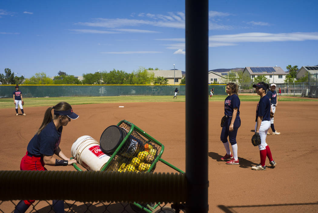 Coronado catcher Taylor Okamura, far right, during practice at the school in Henderson on Tuesday, May 16, 2017. Chase Stevens Las Vegas Review-Journal @csstevensphoto
