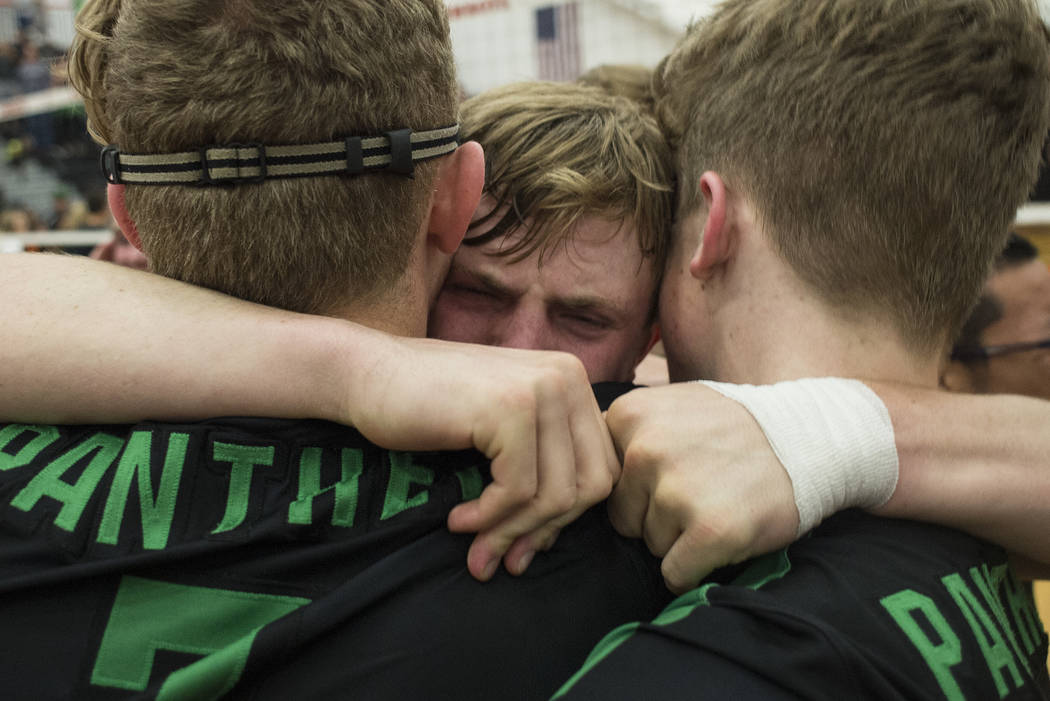 Palo Verde senior Zach Nelson (8), center, reacts to his team's win over Las Vegas High during the Class 4A state volleyball final at Chaparral High School at Chaparral High School on Wednesday, M ...