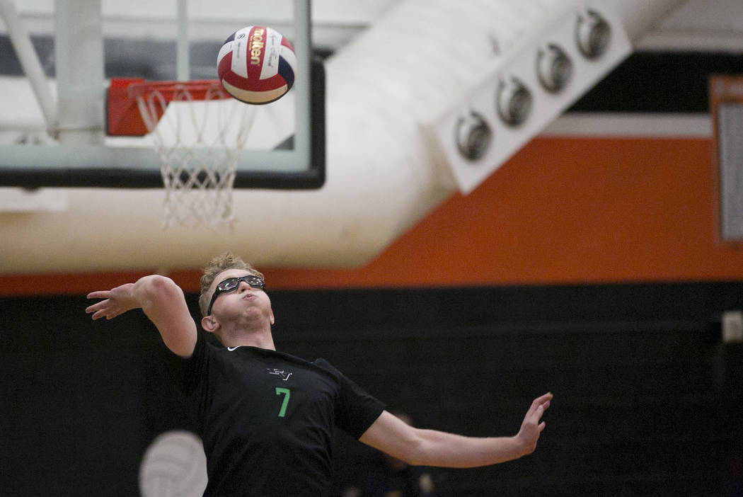 Palo Verde senior Grant Tingey (7) serves the ball during the Class 4A state volleyball final against Las Vegas at Chaparral High School on Wednesday, May 17, 2017, in Las Vegas. Palo Verde won 3- ...