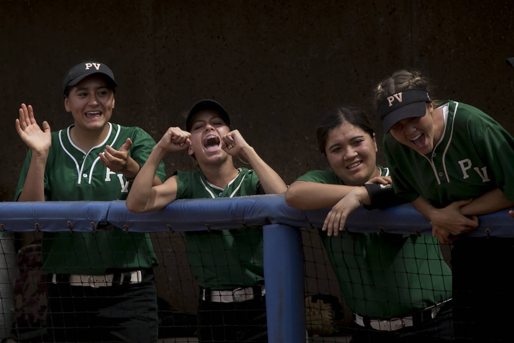 Palo Verde cheers their teammates during a game against Rancho at Bishop Gorman High School in part of the Class 4A state softball tournament on Thursday, May 18, 2017 in Las Vegas. Palo Verde won ...