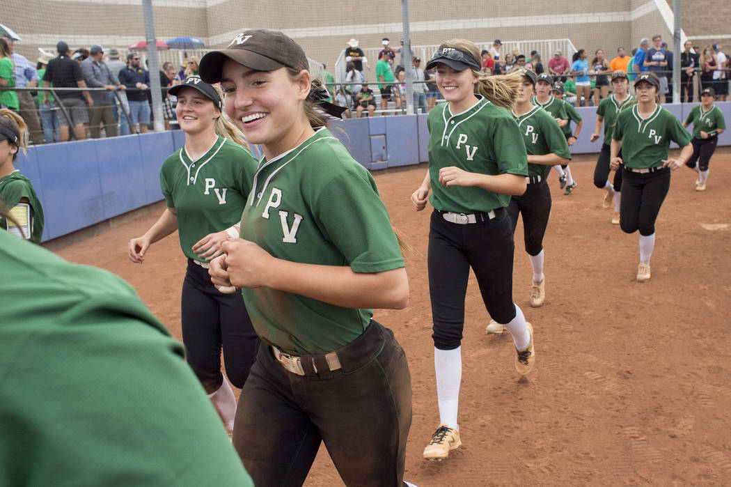 Palo Verde teammates run off the field after their game against Rancho at Bishop Gorman High School in part of the Class 4A state softball tournament on Thursday, May 18, 2017 in Las Vegas. Palo V ...