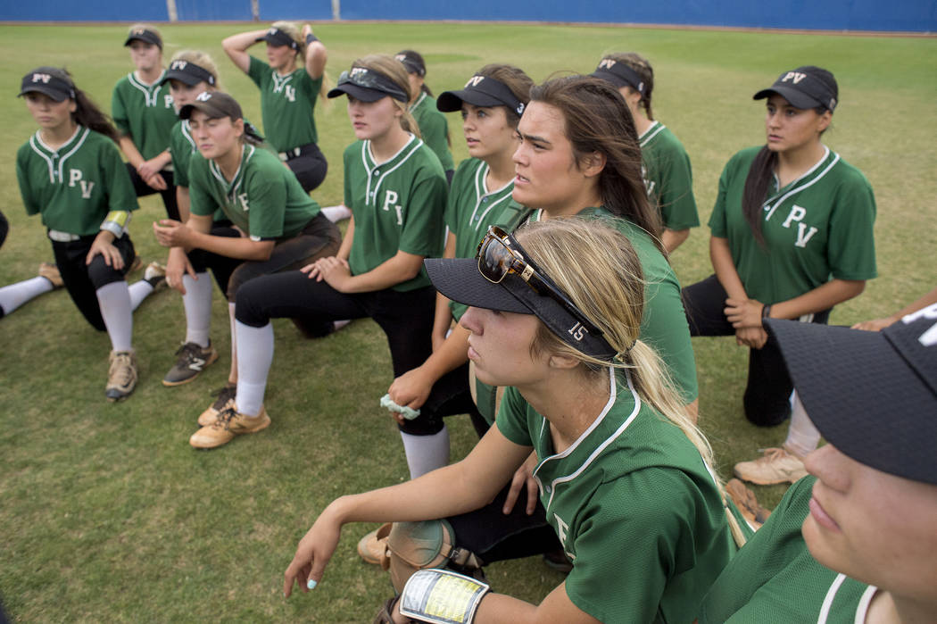 Palo Verde teammates take a knee after their game against Rancho at Bishop Gorman High School in part of the Class 4A state softball tournament on Thursday, May 18, 2017 in Las Vegas. Palo Verde w ...