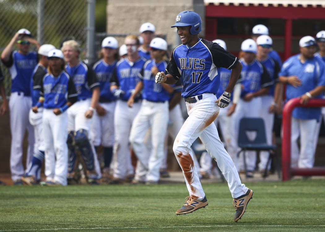 Basic's Garrett Giles (17) rounds the bases on a home run against Galena during a Class 4A state baseball tournament game at Las Vegas High School in Las Vegas on Thursday, May 18, 2017. Basic won ...