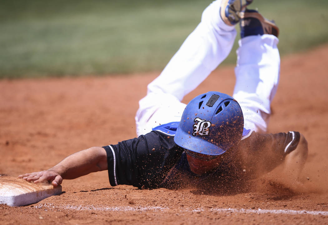 Basic's Nick Thompson stays safe at first base during a Class 4A state baseball tournament game against Galena at Las Vegas High School in Las Vegas on Thursday, May 18, 2017. Basic won 12-0. Chas ...