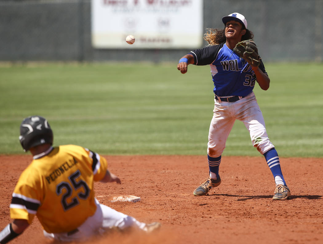 Basic's Christian Rivero throws to first base after getting Galena's Niko Pezonella (25) out during a Class 4A state baseball tournament game at Las Vegas High School in Las Vegas on Thursday, May ...