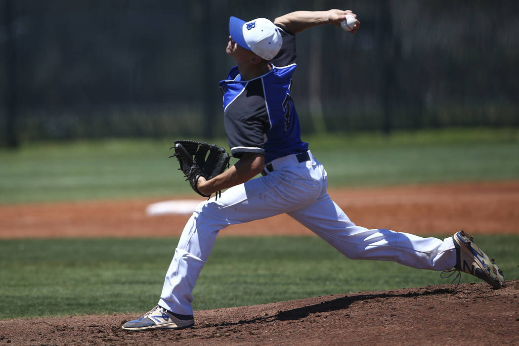 Basic's Shane Spencer pitches to Rancho during a Class 4A state baseball tournament game at Las Vegas High School in Las Vegas on Friday, May 19, 2017. Chase Stevens Las Vegas Review-Journal @csst ...
