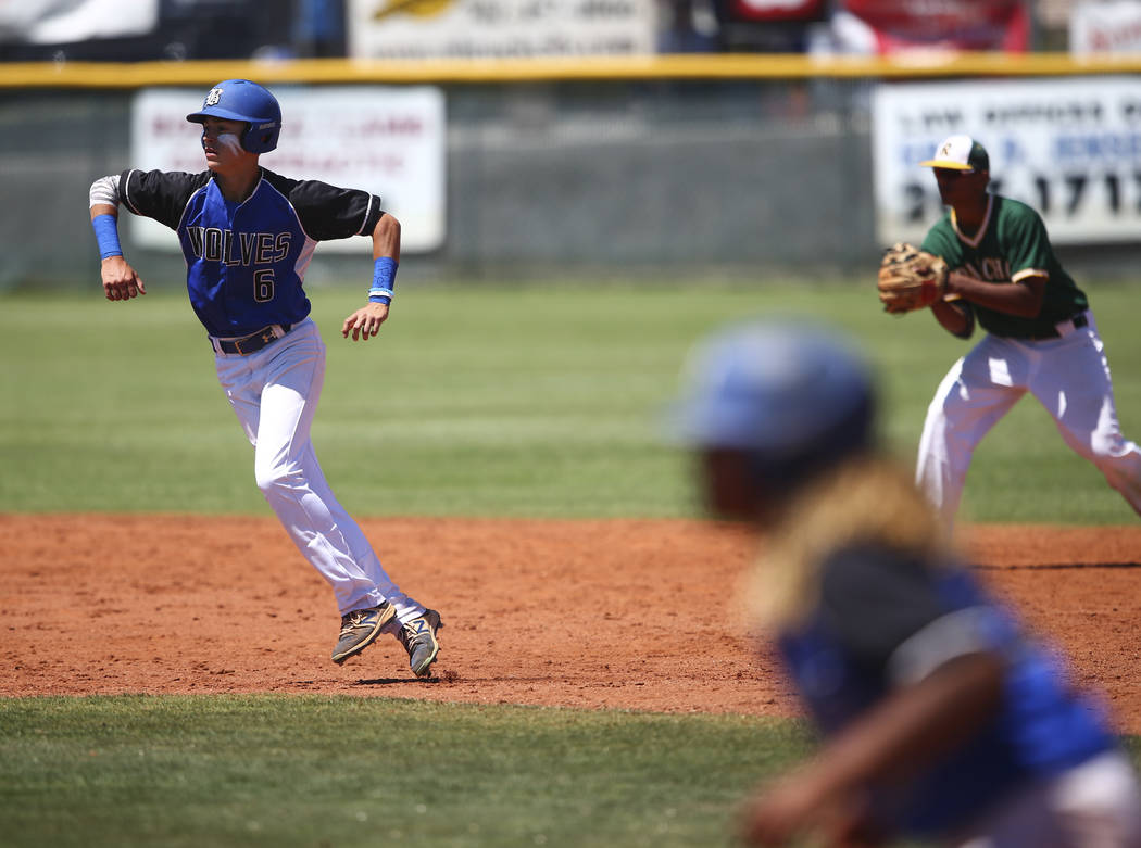 Basic's John Howard Bobo (6) runs for third base during a Class 4A state baseball tournament game against Rancho at Las Vegas High School in Las Vegas on Friday, May 19, 2017. Chase Stevens Las Ve ...