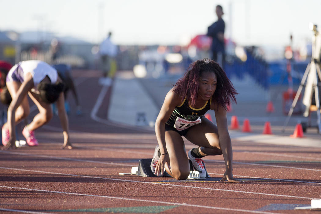Rancho junior Gizelle Reid prepares for the girls 4A 400-meter dash at the NIAA State Track & Field Championships  at Foothill High School on Friday, May 19, 2017 in Henderson.  Bridget Bennet ...