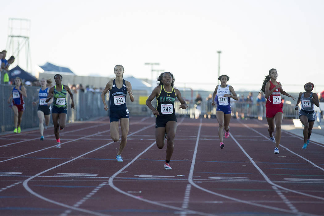 Rancho junior Gizelle Reid (742) places first in the girls 4A 400-meter dash at the NIAA State Track & Field Championships at Foothill High School on Friday, May 19, 2017 in Henderson.  Bridge ...