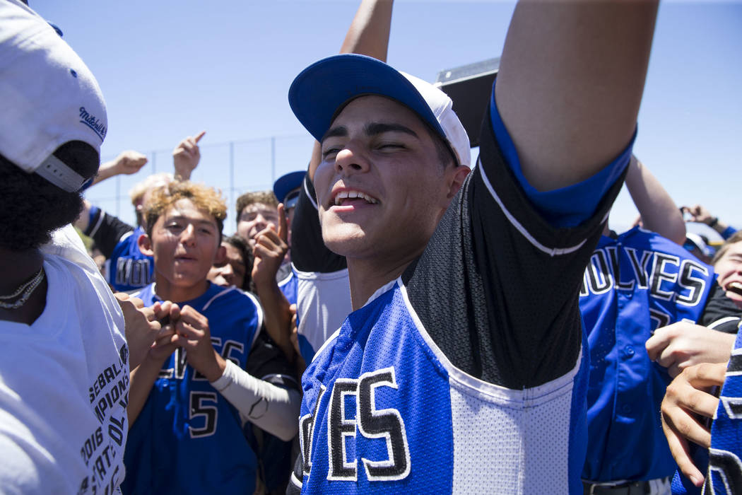 Basic's Tommy Paonessa celebrates with his teammates after defeating Galena in the NIAA Class 4A State Championship baseball game at Las Vegas High School in Las Vegas on Saturday, May 20, 2017. R ...