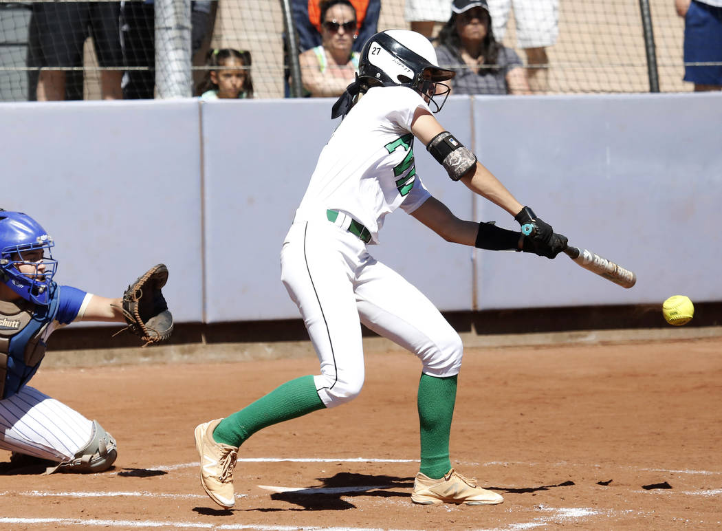 Palo Verde's Camden Zahn bats against Reed High School during their Class 4A State Championship softball game in Las Vegas on Saturday, May 20, 2017. Bizuayehu Tesfaye Las Vegas Review-Journal @bi ...