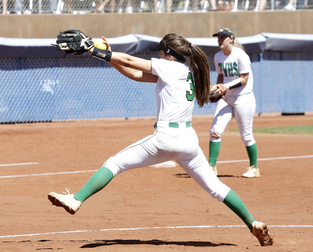 Palo Verde's Taylor Askland pitches against Reed High School during their Class 4A State Championship softball game in Las Vegas on Saturday, May 20, 2017. Bizuayehu Tesfaye Las Vegas Review-Journ ...
