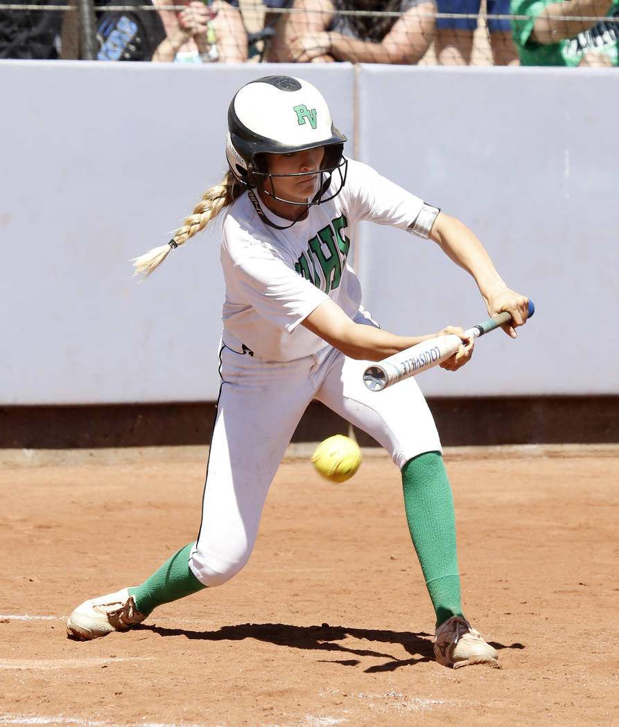Palo Verde's Kenzie Ryan bunts against Reed High School during their Class 4A State Championship softball game in Las Vegas on Saturday, May 20, 2017. Bizuayehu Tesfaye Las Vegas Review-Journal @b ...