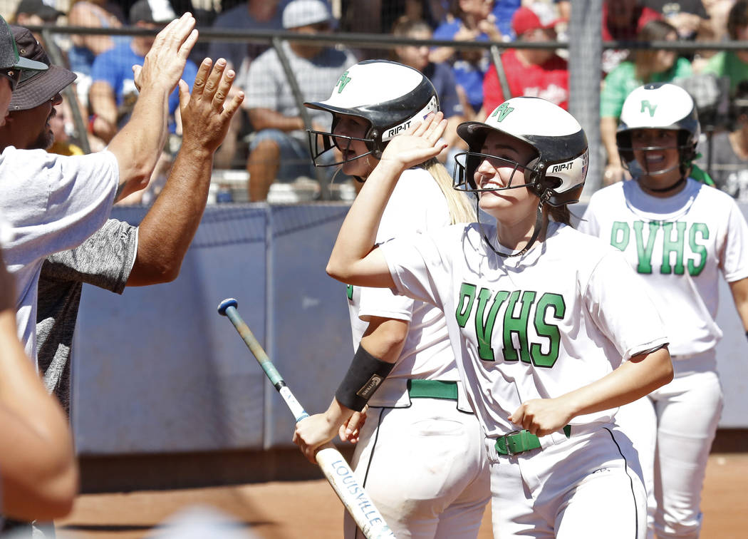 Palo Verde's Makall Wetten celebrates after scoring against Reed High School during their Class 4A State Championship softball game in Las Vegas on Saturday, May 20, 2017. Bizuayehu Tesfaye Las Ve ...