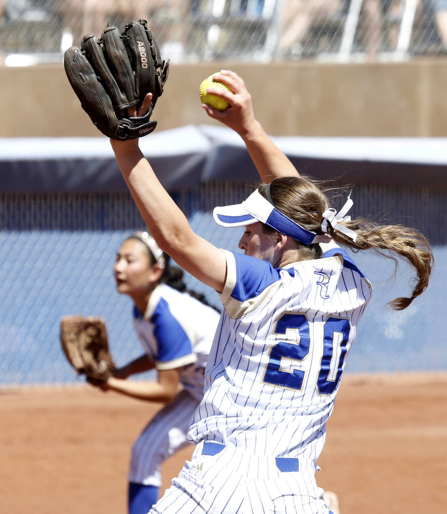Reed's Julia Jensen delivers a pitch against Palo Verde during their Class 4A State Championship softball game in Las Vegas on Saturday, May 20, 2017. Bizuayehu Tesfaye Las Vegas Review-Journal @b ...