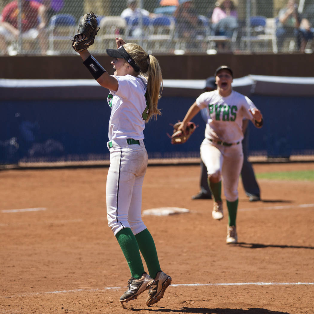 Palo Verde's Kendall Hopkins (8) reacts after a strikeout to win against Reed in the Nevada Class 4A state softball final on Saturday, May 20, 2017 in Las Vegas. Palo Verde won 9-3. Erik Verduzco/ ...