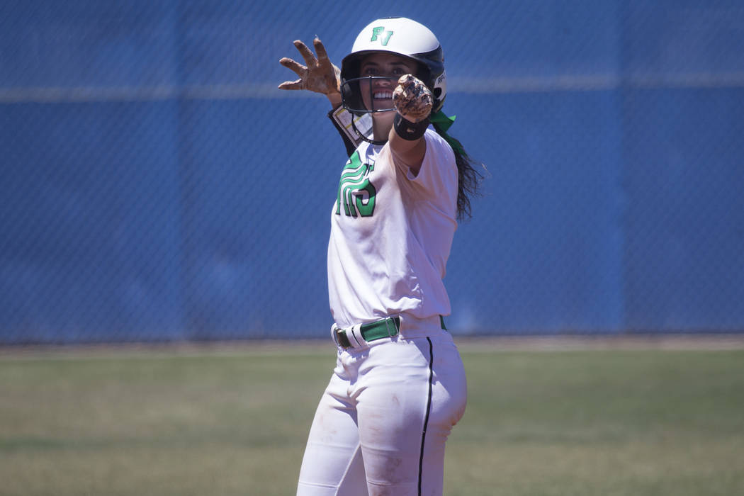 Palo Verde's Cara Beatty (5) reacts after hitting a double against Reed in the Nevada Class 4A state softball final on Saturday, May 20, 2017 in Las Vegas. Palo Verde won 9-3. Erik Verduzco/Las Ve ...