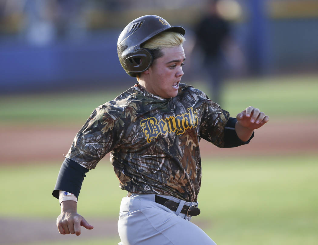Bonanza's Jay Desoto runs for first base during the Class 4A All-Star baseball game at the College of Southern Nevada's Morse Stadium in Henderson on Thursday, May 25, 2017. Chase Stevens Las Vega ...