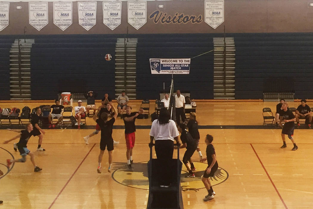 Shadow Ridge's C.J. McInnes sets Treven Clizbe of Arbor View in the Class 4A All-Star boys volleyball all-star game at Boulder City High on May 24, 2017. The Sunset Region defeated the Sunrise Reg ...