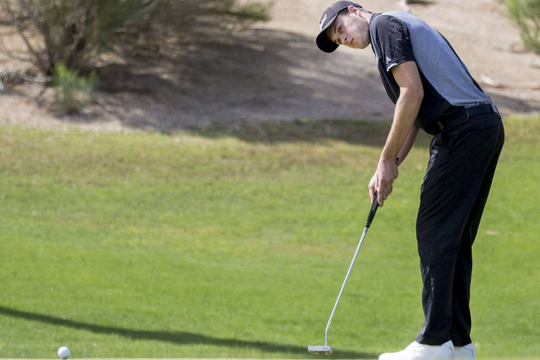 Palo Verde's Jack Trent on the 16th hole during the Sunset Region boys golf tournament at the  Siena Golf Club in Las Vegas, Monday, May 8, 2017. Elizabeth Brumley Las Vegas Review-Journal @EliPag ...