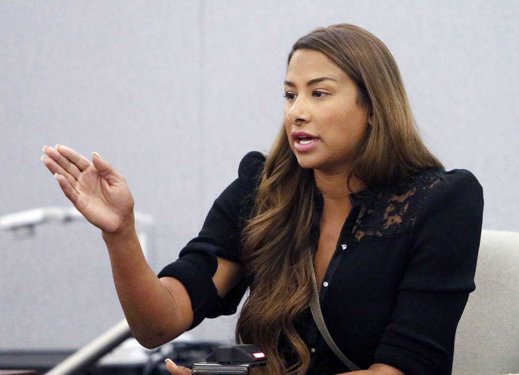 Brooke Stewart, ex-girlfriend of Kenny Sanchez, Bishop Gorman's head football coach charged with domestic violence, takes the witness stand at the Regional Justice Center on Tuesday, May 30, 2017, ...