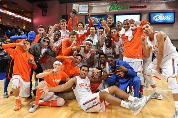 Bishop Gorman players and students pose with the State Championship after the NIAA Division I State Boys Basketball Championship game against Centennial at Orleans Arena.