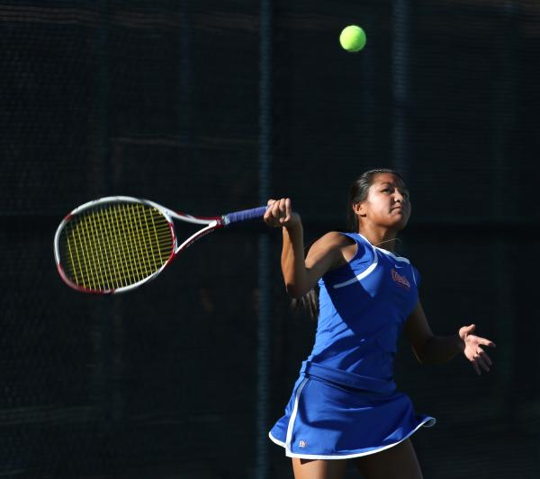 Bishop Gorman sophomore Amber Del Rosario keeps her eye on the ball during a Division I state championship match against Palo Verde on Friday.