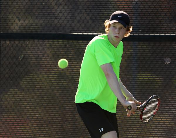 Palo Verde junior Rhett Bossung returns a ball during a Division I state championship match against Coronado on Friday.