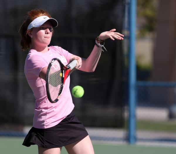 Faith Lutheran freshman Madison Foley returns the ball during a Division I-A state championship match against The Meadows on Friday.