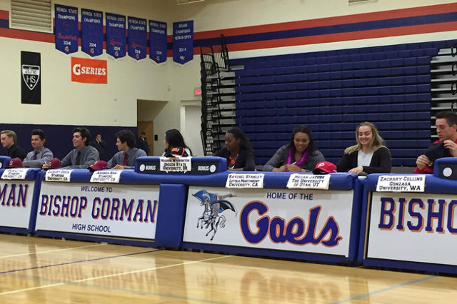 Bishop Gorman senior athletes sign their National Letters of Intent in the school's gymnasium on Nov. 11, 2015. (Ashton Ferguson/Las Vegas Review Journal)