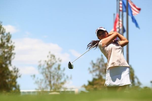 Alexandra Kaui practices her swing at Desert Pines Golf Club. The recent Green Valley High School graduate, who won three state titles with the Gators, won a sectional qualifying tournament last m ...