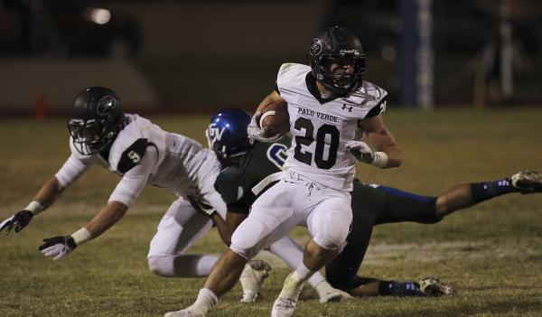 Palo Verde's Sean Dennis (20) breaks free for a long run against Green Valley on Friday. Dennis had 112 yards and a touchdown on seven carries.
