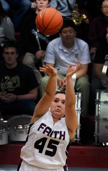 Faith Lutheran's Alex Wright shoots the ball against Clark on Thursday night.