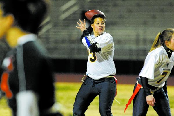 Foothill quarterback Sam Fennell (13) looks to throw a pass against Chaparral on Wednesday.