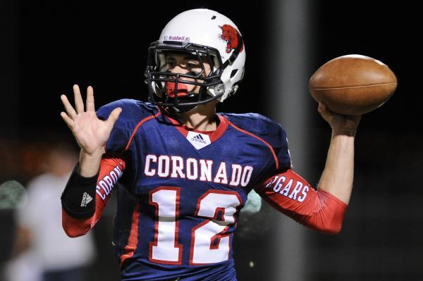 Coronado quarterback Jackson Cofer (12) looks to throw the ball against Arbor View on Friday.