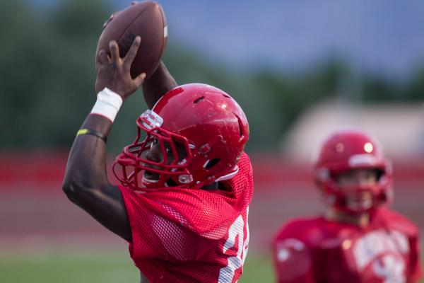 Arbor View running back Anthony Smith hauls in a pass during Tuesday's practice. Smith is the team's leading returning rusher (735 yards) and tackler (48 tackles).