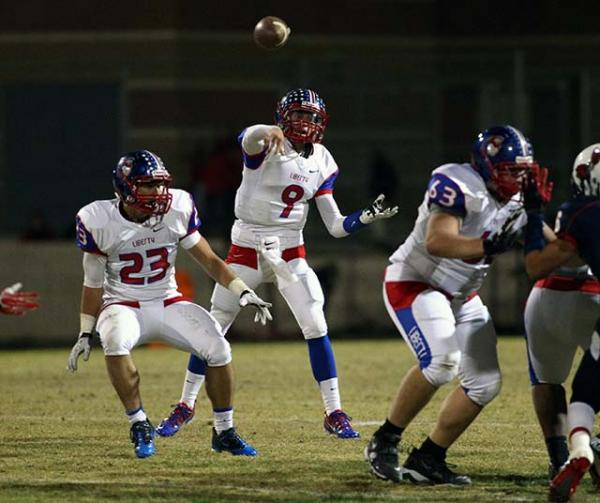 Liberty quarterback Tyler Newman (9) throws a pass during a game against Coronado. Newman has committed to attend Dixie State University.