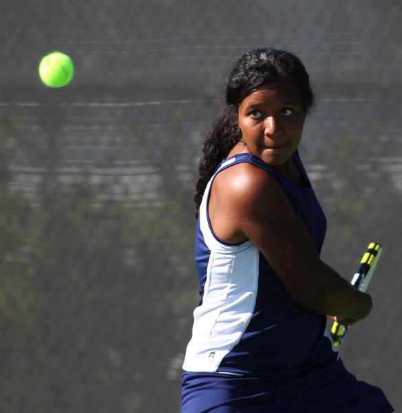Coronado's Paris Reese lines up a backhand during her set with Green Valley's Josie Legarza on Saturday. The Cougars topped the Gators 11-7 for the title.