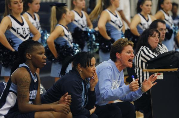 Centennial girls basketball coach Karen Weitz yells out instructions to her team in a game against Shadow Ridge. Weitz is the second-winningest girls basketball coach in Nevada history.