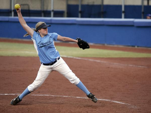 Centennial's Kate Rauskin fires a pitch during the sixth inning on Wedesday against Arbor View. Rauskin spun a one-hitter in a 10-0 win over the Aggies in the Sunset Region tournament at Bishop Go ...