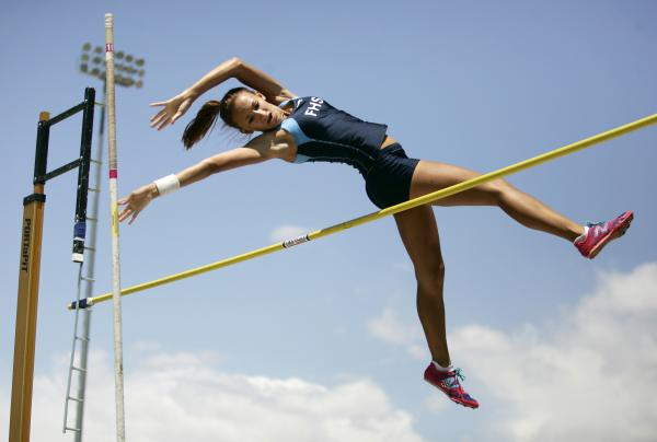 Foothill's Ryanne Bailey clears the bar in the pole vault on Saturday. Bailey cleared 8 feet, 6 inches to finish seventh in the event at the state track meet at Silverado.